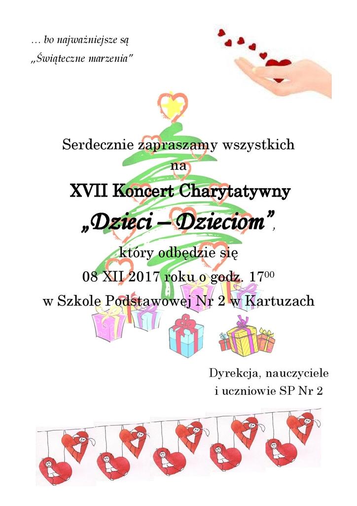 """XVII Koncercie Charytatywnym """"Dzieci - Dzieciom"""" w SP nr 2 w Kartuzach"""