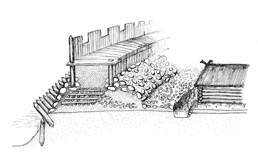 Rekonstrukcja grodu - rys. K. Odya