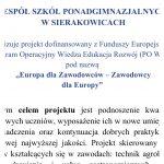 """""""EUROPA DLA ZAWODOWCÓW – ZAWODOWCY DLA EUROPY"""" – ZSP w Sierakowicach"""
