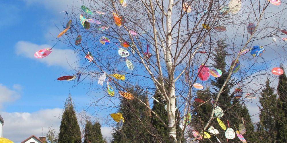 Za sprawą dzieci, w Przodkowie ponownie stoi bardzo wielkanocne drzewo