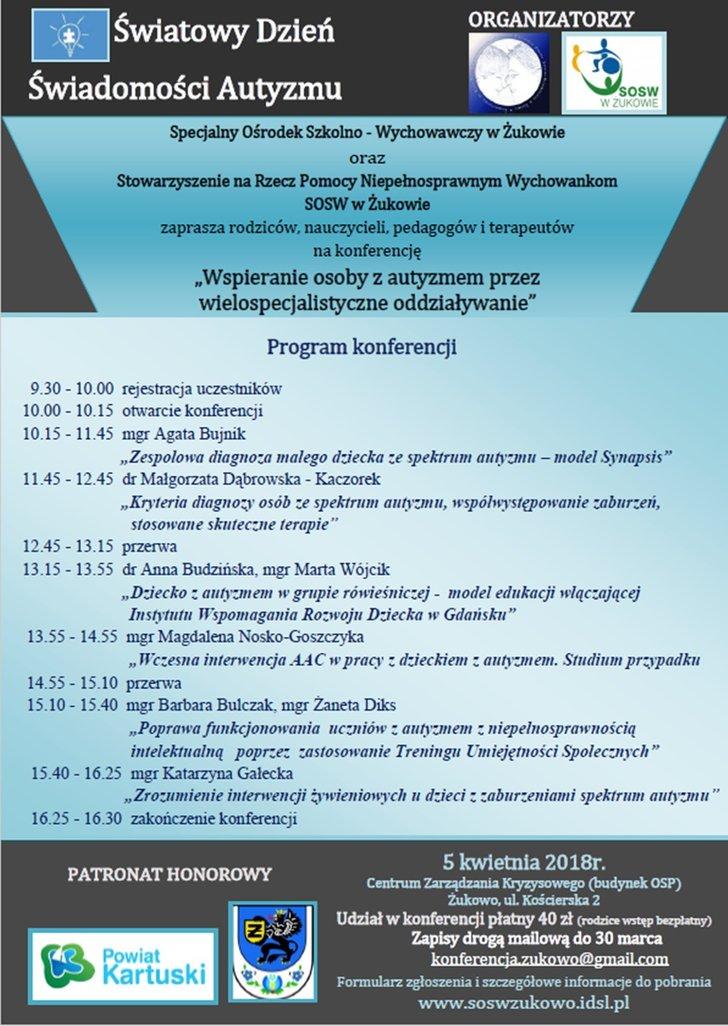"""Konferencja """"Wspieranie osoby z autyzmem przez wielospecjalistyczne oddziaływanie"""""""