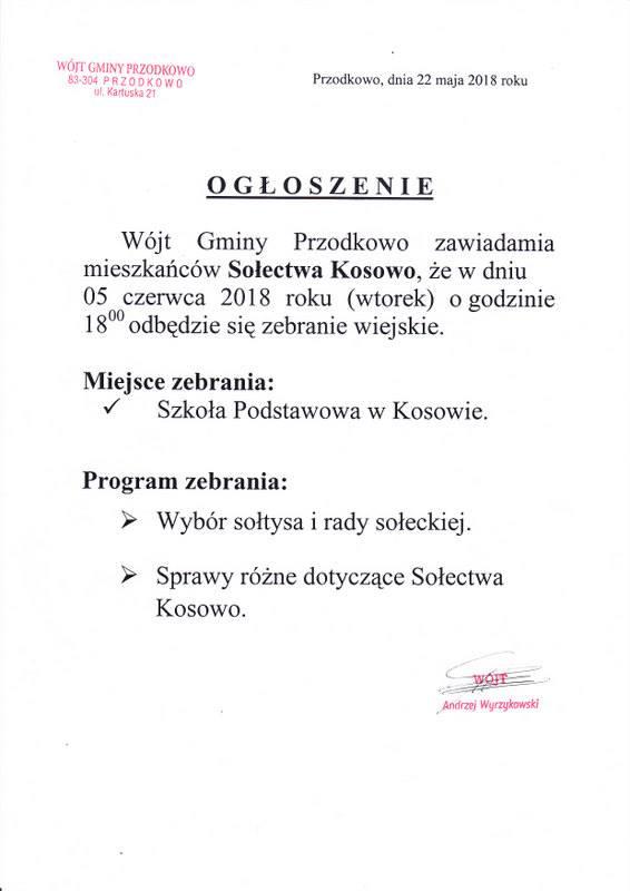 Wybory na sołtysa w Kosowie