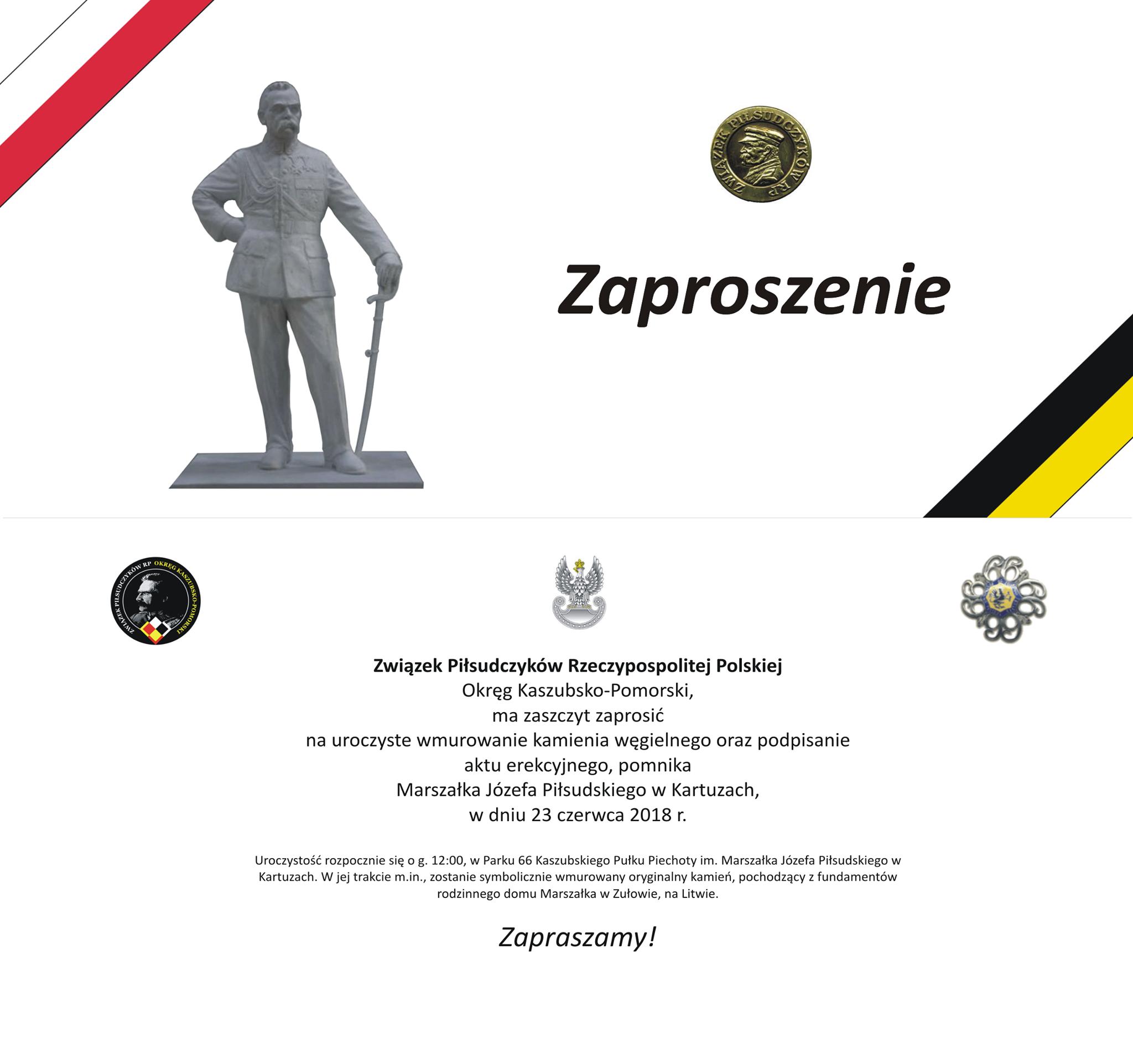 Wmurowanie kamienia węgielnego - Pomnik Józef Piłsudskiego w Kartuzach
