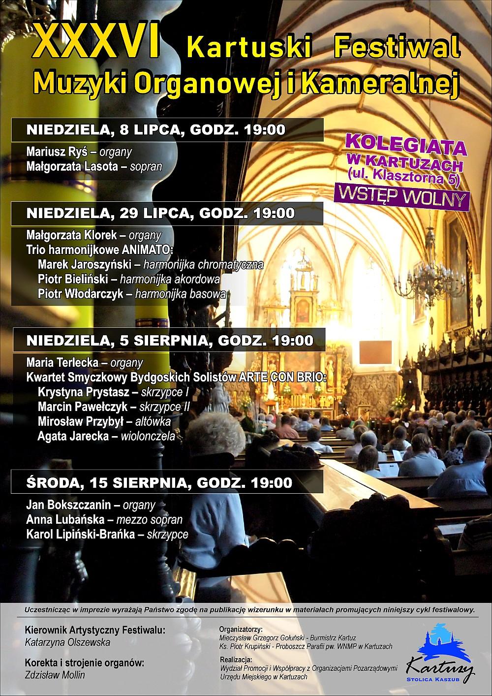 36. Kartuski Festiwal Muzyki Organowej i Kameralnej - Kartuzy