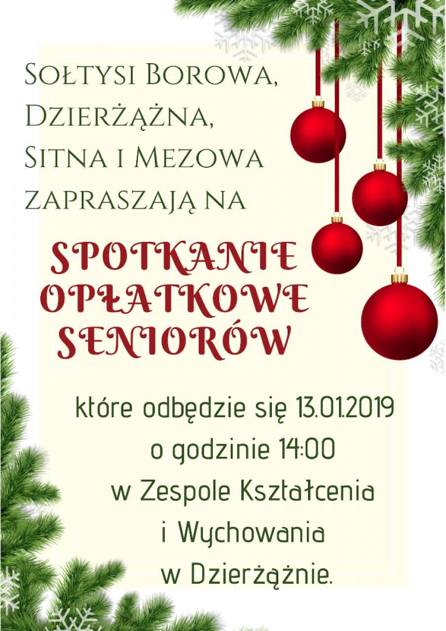Spotkanie opłatkowe seniorów - Borowo, Dzierżążno, Mezowo i Sitno