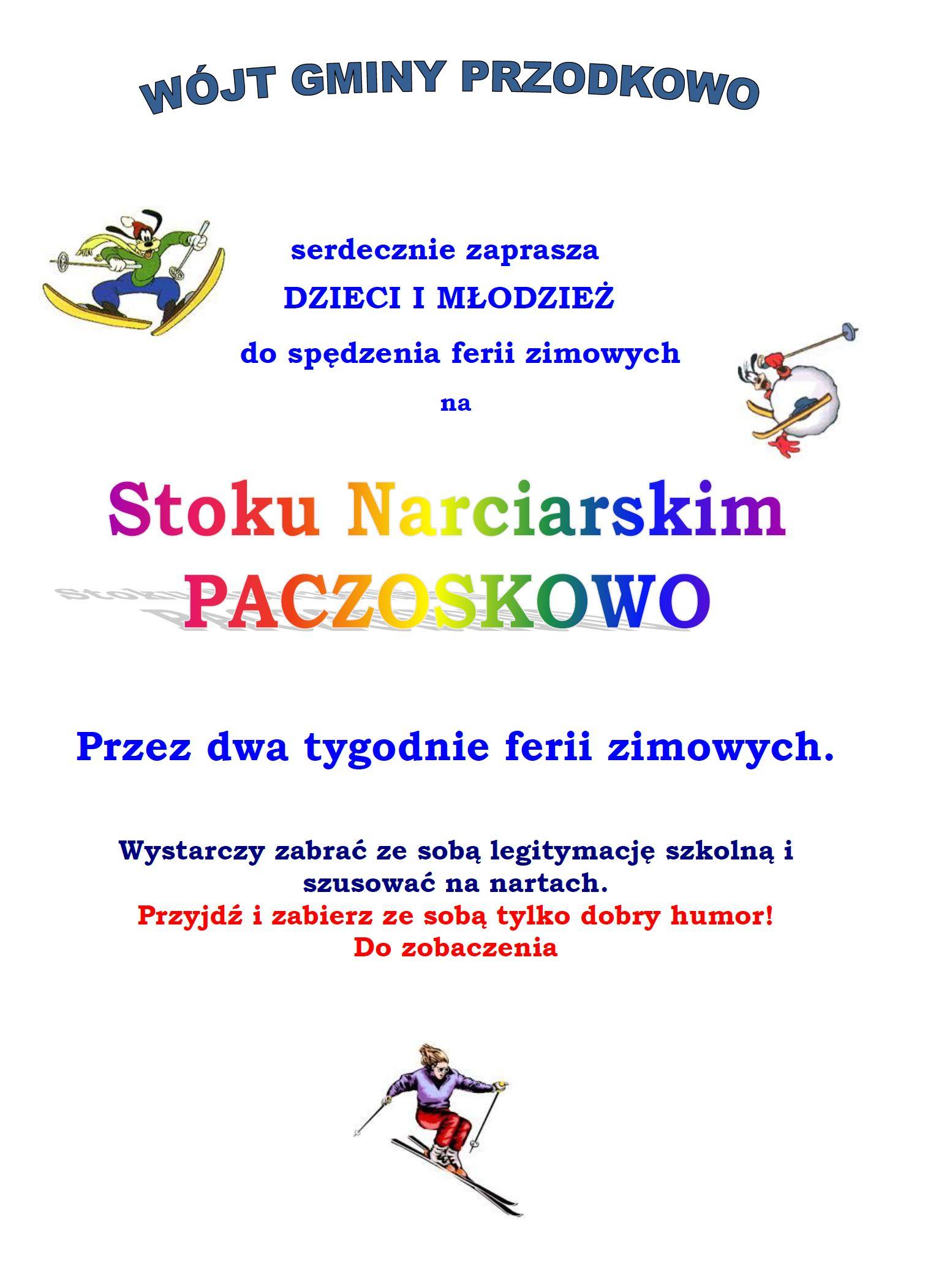 Ferie na stoku narciarskim Paczoskowo i na orliku. Wójt Gminy Przodkowo zaprasza!