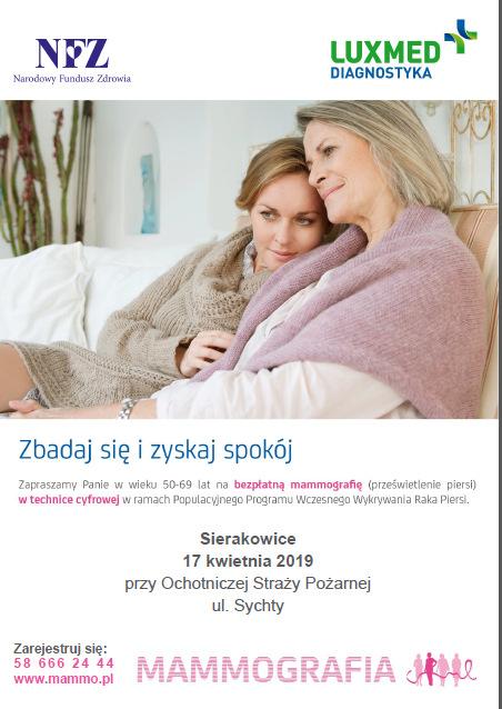 Badania mammograficzne w Sierakowicach