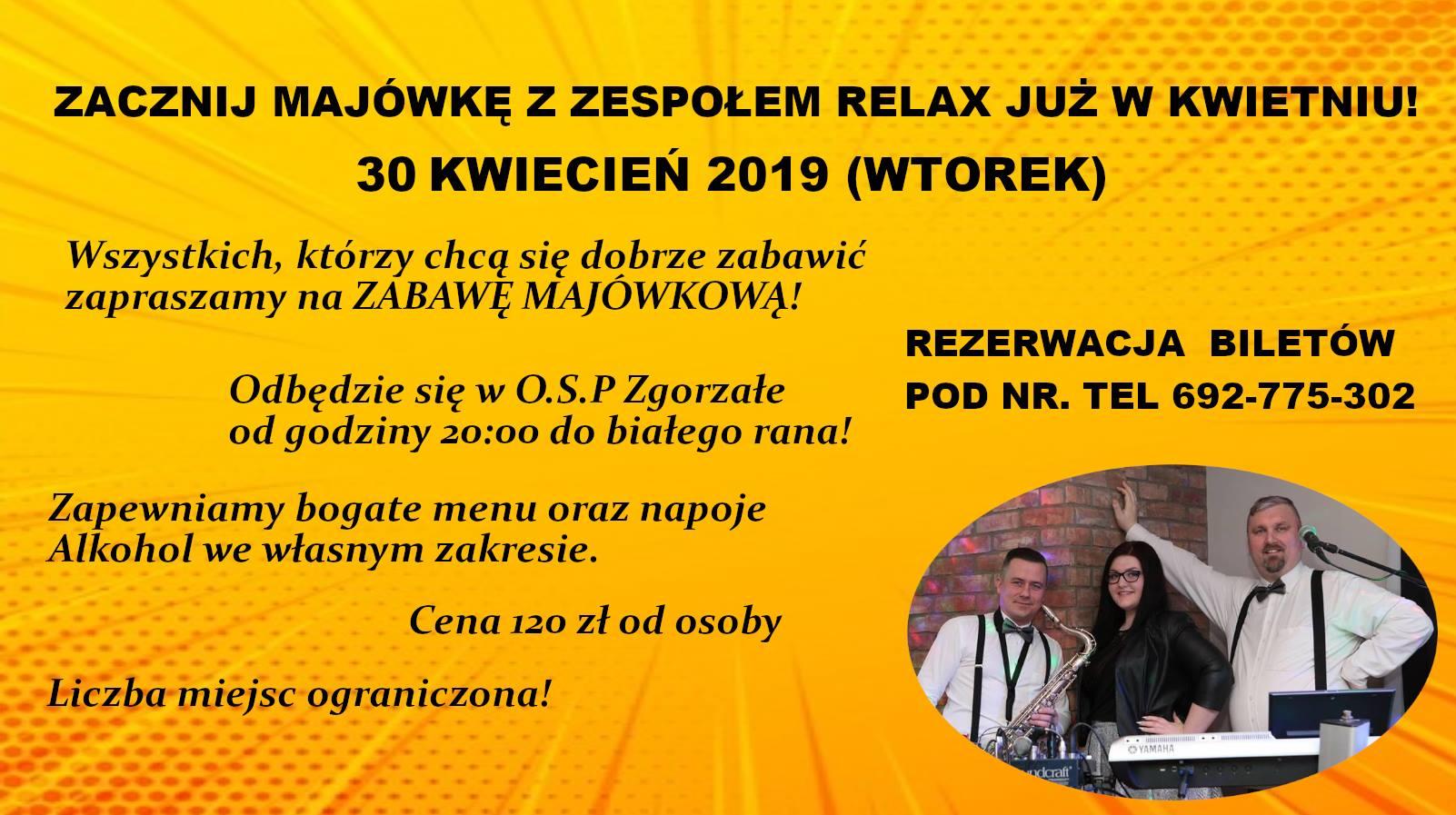 Majówka z zespołem RELAX już w kwietniu- Zgorzałe