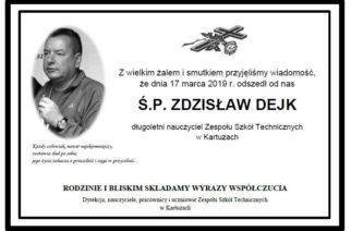 Nie żyje Zdzisław Dejk, nauczyciel ZST w Kartuzach