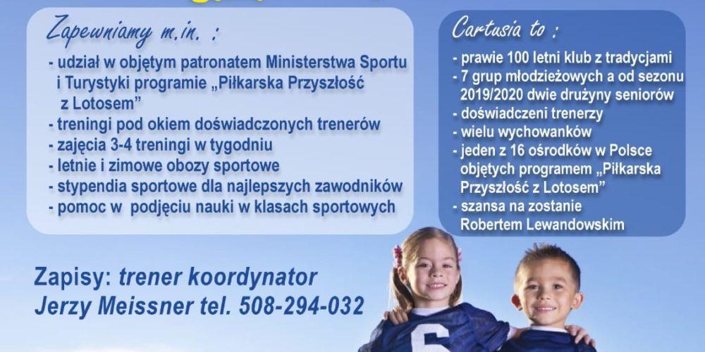 """GKS """"Cartusia 1923"""" ogłasza nabór zawodników urodzonych w rocznikach 2012/2013, a także starszych!"""